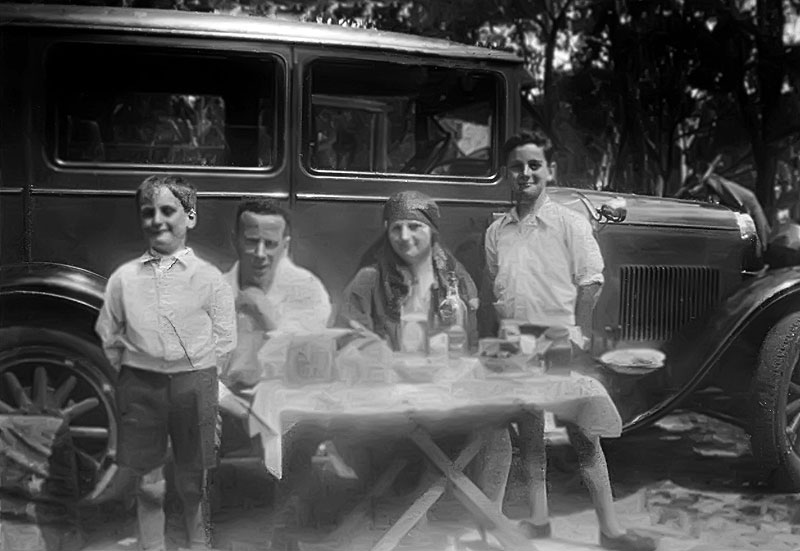 The McDonald family, Ken, father Edward, mother Eva and author Ean, on a trial run in their 1930 Essex sedan before setting out on their 1932 transcontinental journey from Melbourne to Perth.