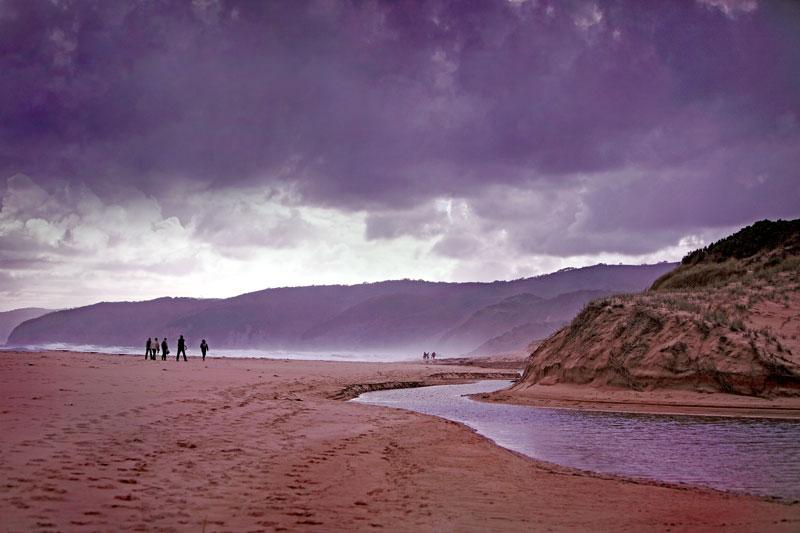 View of trekkers walking through Joanna Beach, Victoria.