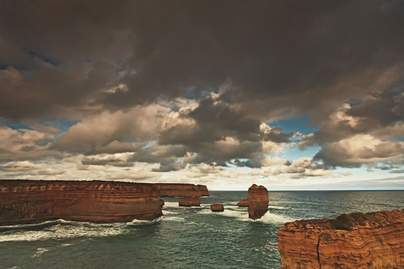 View of 12 Apostles, Victoria, under a heavy sky.