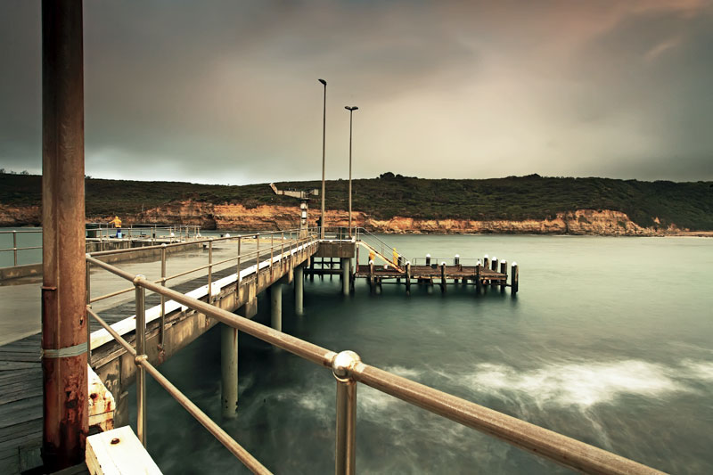 View of a wharf near the Sea Foam Villas at Port Campbell, Victoria.