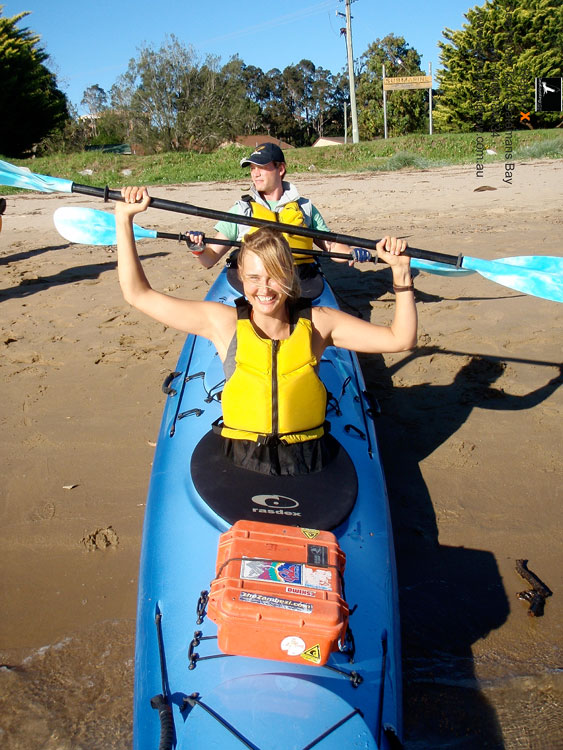 AT's Solveig Walkling is overwhelmed with excitment before she even hits the water. Image by Region X Kayak
