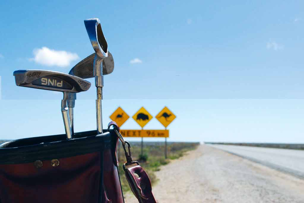 The Nullarbor 'driving range' - desert golf