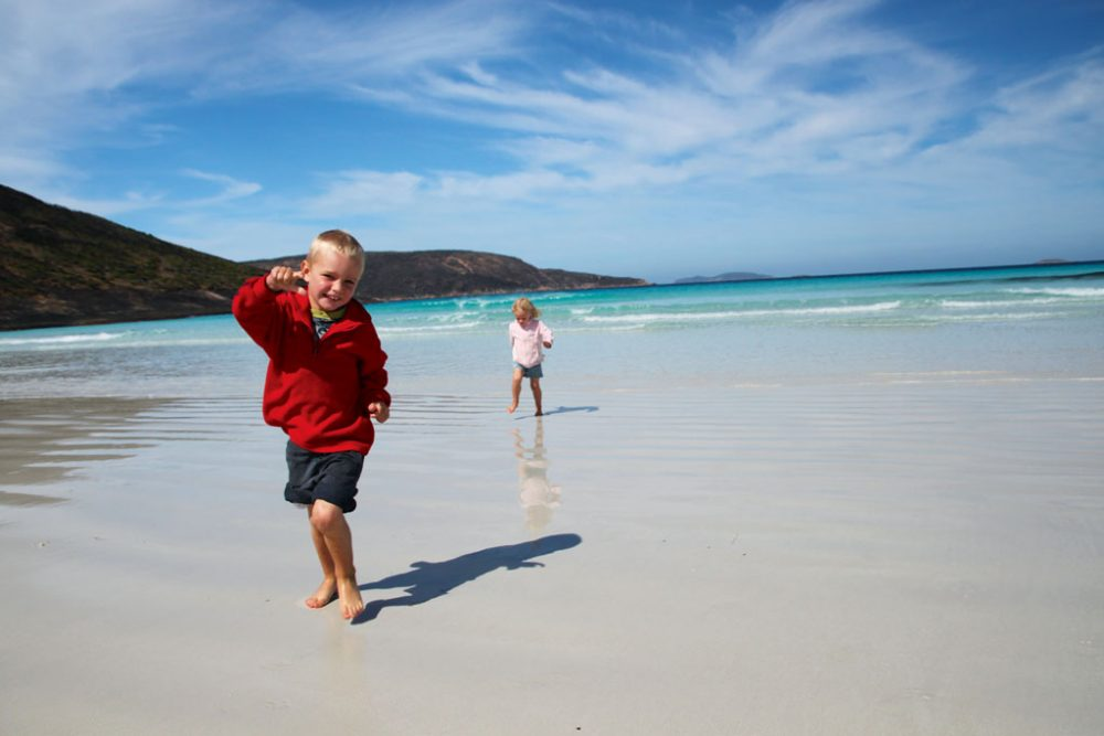 Kids on beach at Cape Le Grand