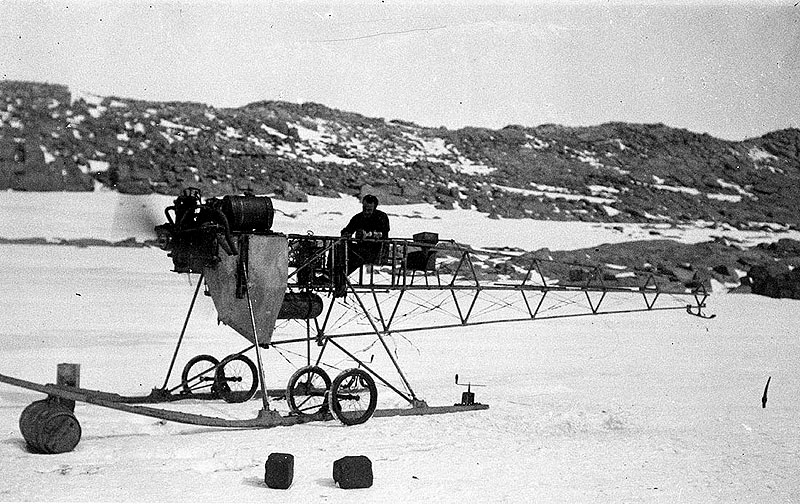 Historic remnants of explorer Douglas Mawson's mono plane have been uncovered in Antarctica. image by Frank Hurley