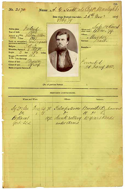 Gaol Photograph of A. G. Scott alias Captain Moonlite, 1st January 1880