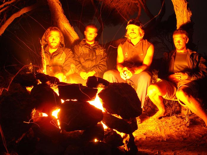 Tom, Matt, Anthony and Mereki on the Nullarbor Plain
