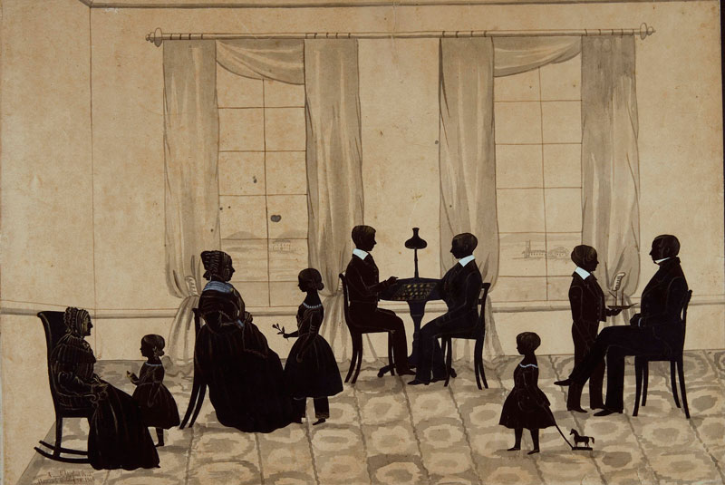 MacKenzie family silhouette 1846 by Samuel Metford (1810 - 1896) brush and ink, pen and ink, stencil cut out with watercolour highlights. Collection: National Portrait Gallery, Canberra Gift of the estate of Nancy Wiseman 2007