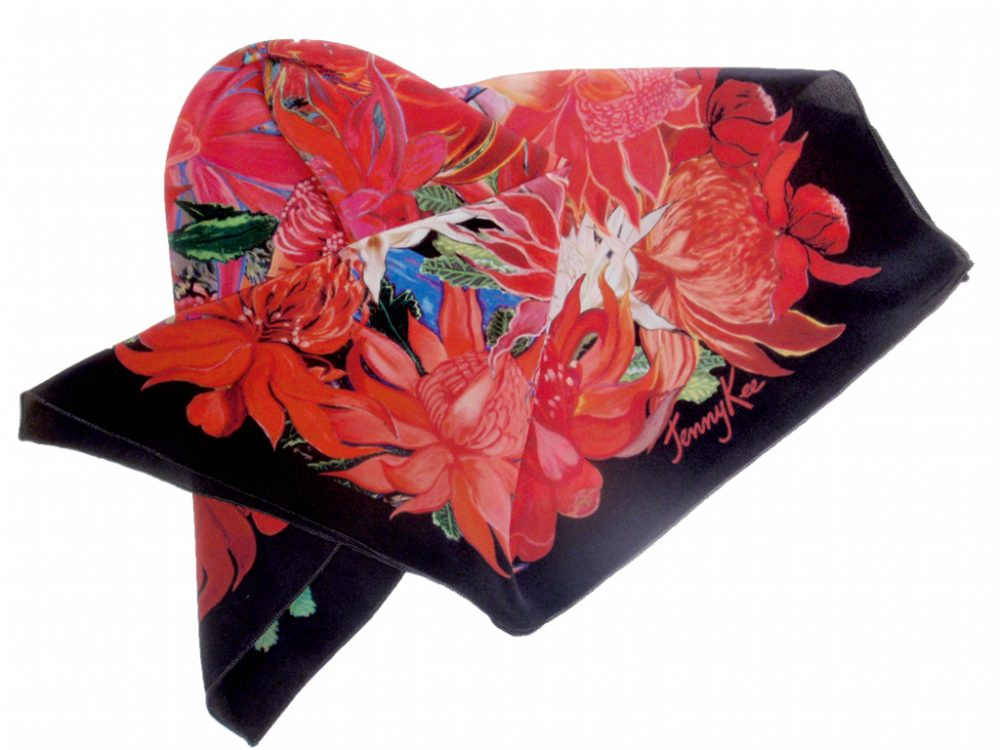 'Waratah Passion' scarf by Jenny Kee