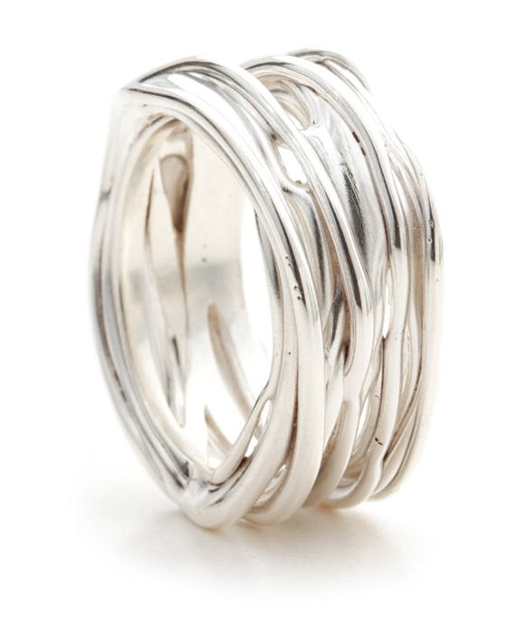 Silver Drizzled Ring by Oye Modern