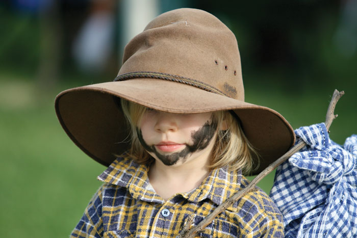 A local youngster dresses as a swagman for Australia Day. Image by Greg Marzo