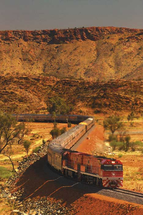 The Ghan takes the direct route from Adelaide to Darwin via Alice Springs and the red centre of Australia.