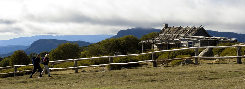 Walking past the iconic Craig's Hust in the Victorian High Country