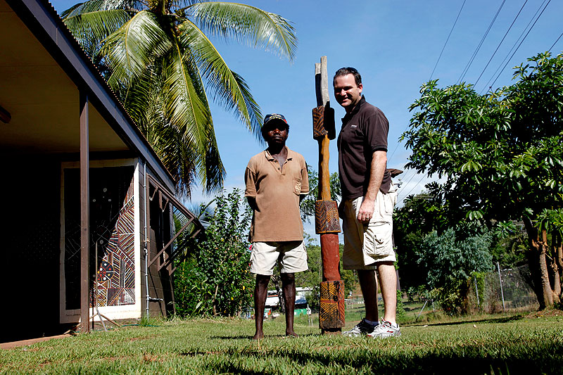 Australian Traveller Quentin Long reports from the middle of his outback art tour, seen here with Pedro Wonaeamirri, from Jilamara Art Centre in Snake Bay on Melville Island.