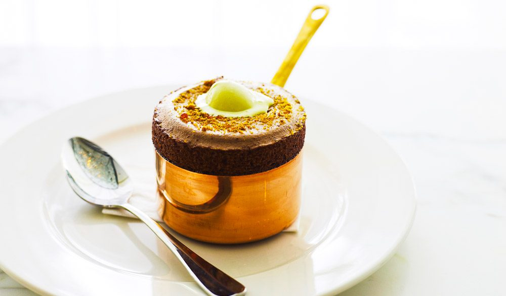 Chocolate Souffle with pistachio ice cream.