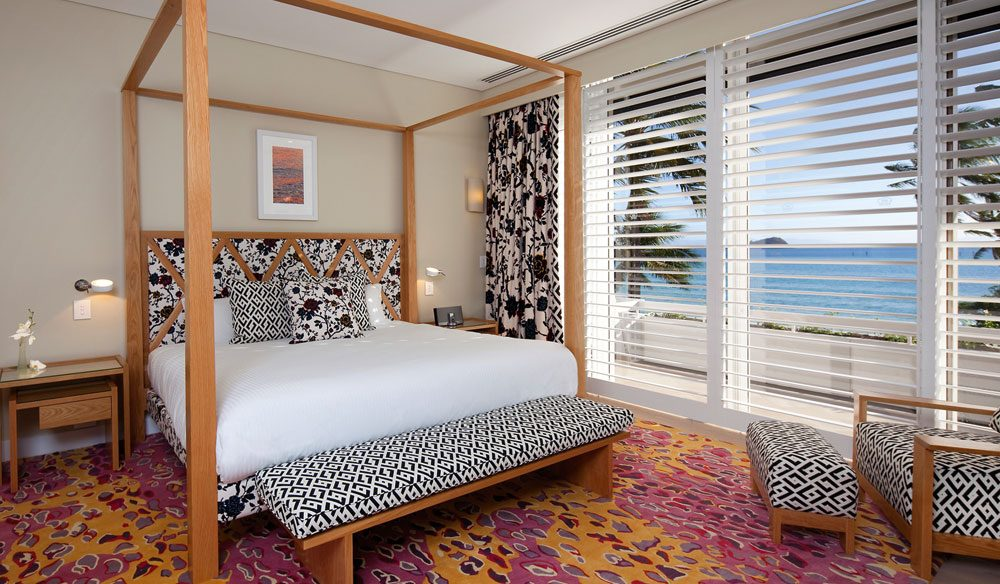 The master bedroom of Hayman Island's new penthouse, designed by Diane Von Furstenberg