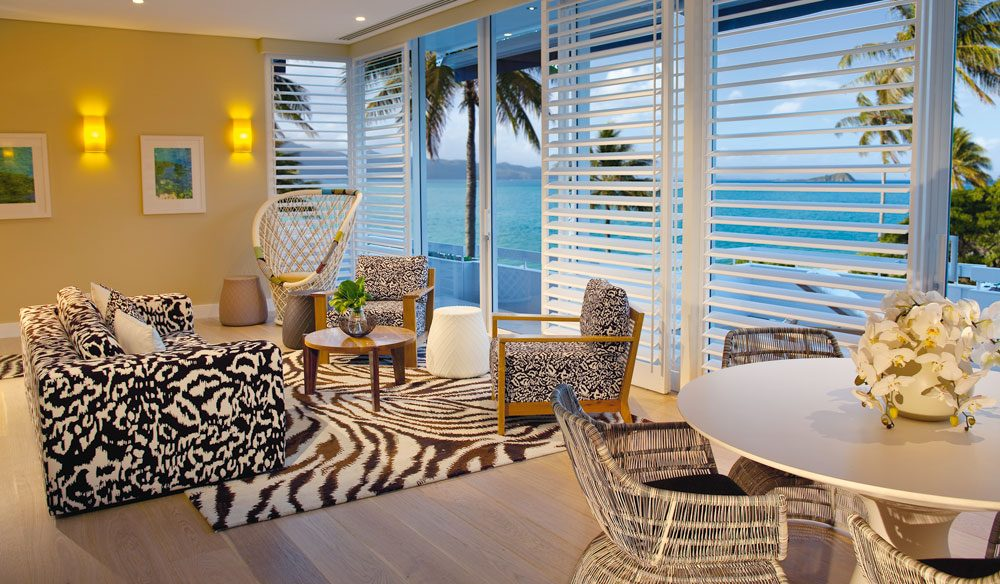 The living area of Hayman Island's new penthouse, designed by Diane Von Furstenberg