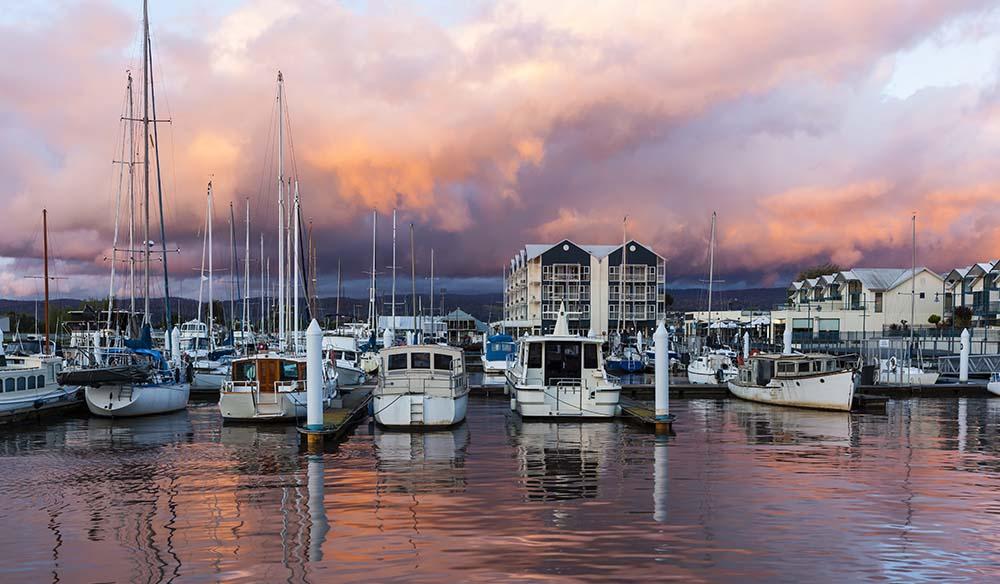 Sailing boats at dusk at Launceston Tasmania, Australia