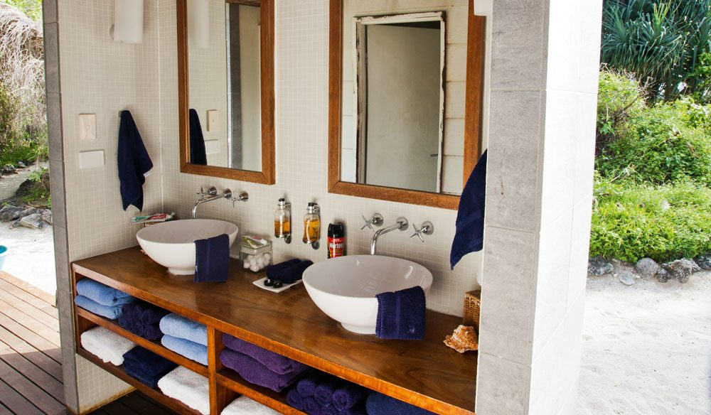 Wilson Island's indoor-outdoor bathroom stocked with Molten Brown products