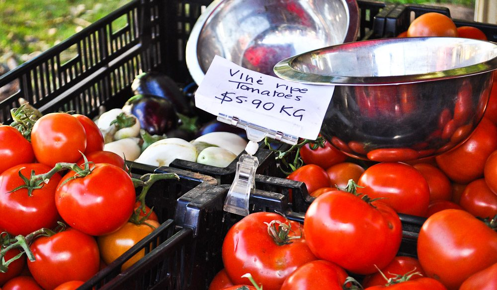 Coopers Shoot Tomatoes are among the rich offering of local produce at Bangalow's Saturday Farmers Market