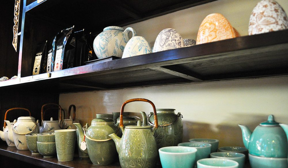 Find an array of teas, tea cups, Asian cooking ingredients and dumplings at Red Ginger, Bangalow