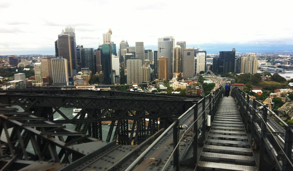 STAIRWAY TO HEAVEN: stairs on the western side of the bridge take participants back down to Sydney