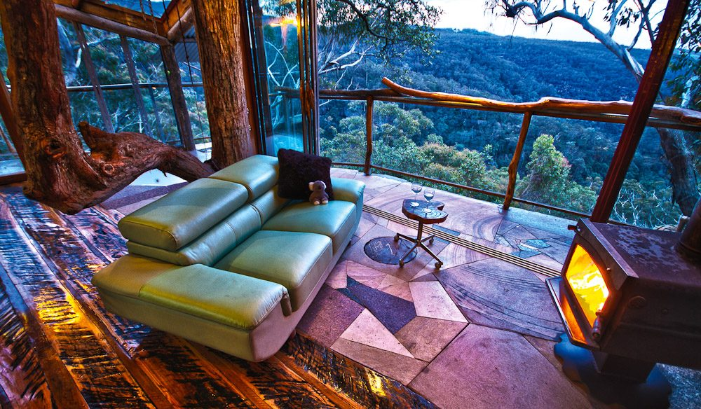 Inside Wollemi Wilderness Treehouse in the NSW Blue Mountains