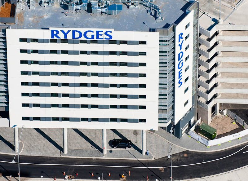A heli-view of the new Rydges Hotel at Sydney Airport