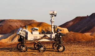 This Curiosity Mars Rover replica is the face of the new Qantas frequent flyer ad campaign.