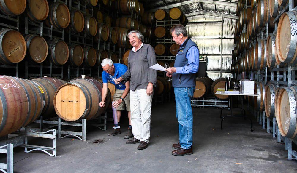 Contract winemaker Phil Christiansen, left, from Brick Kiln, McLaren Vale