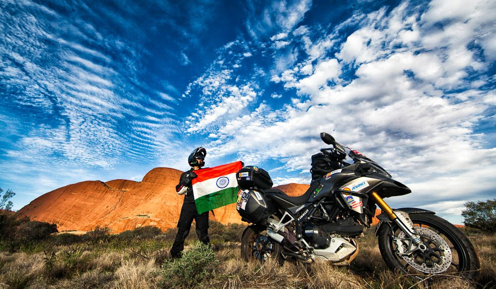 Selfie at  the Olgas with the India flag (Photo: Sunny Gajjar)