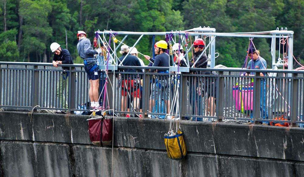 The top: Gordon Dam abseil.