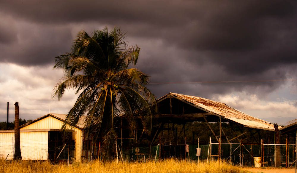 Storms build behind the old Paspaley shed in Broome.