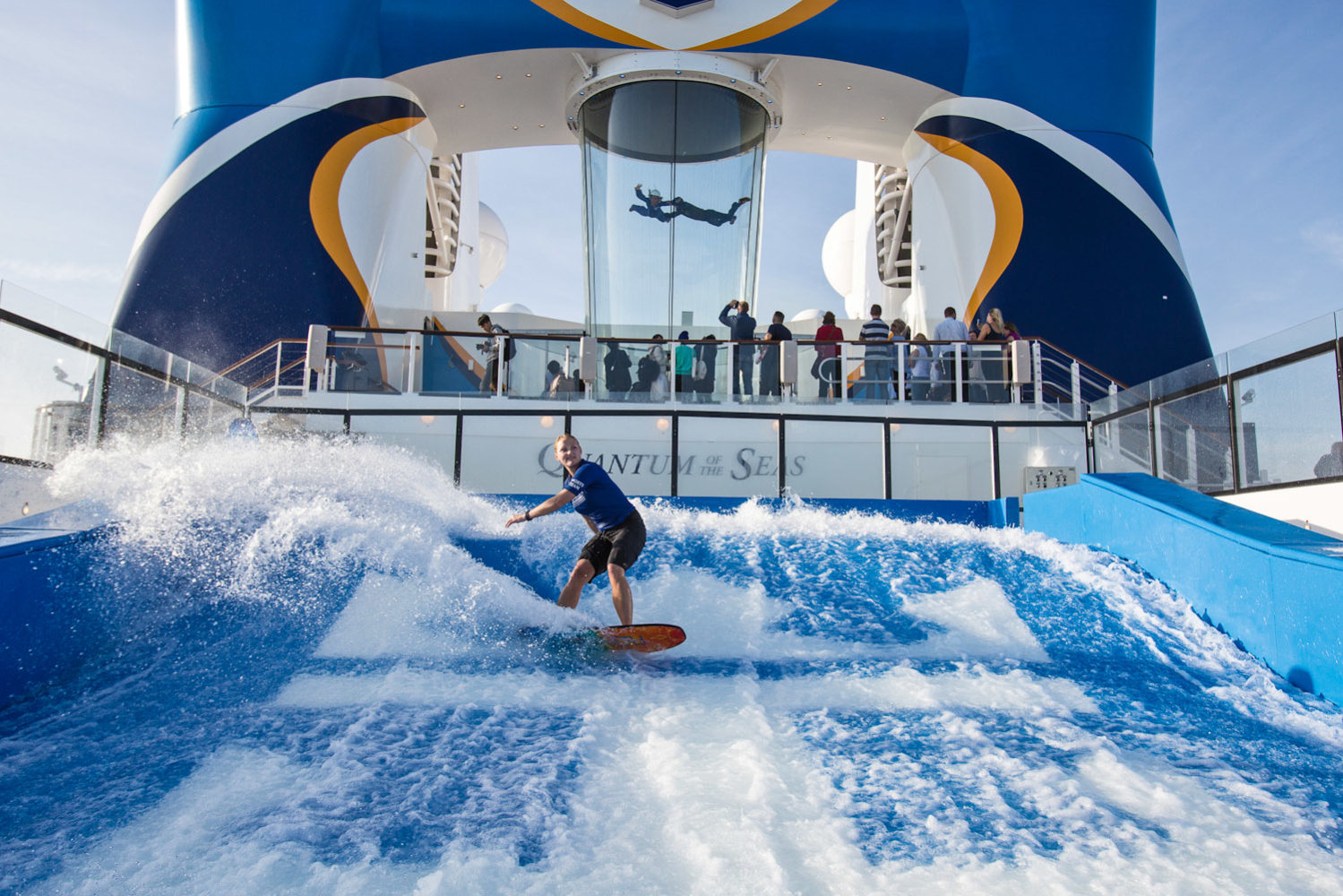 Wave pool and indoor skydiving, Quantum of the Seas, Royal Caribbean Cruise Line