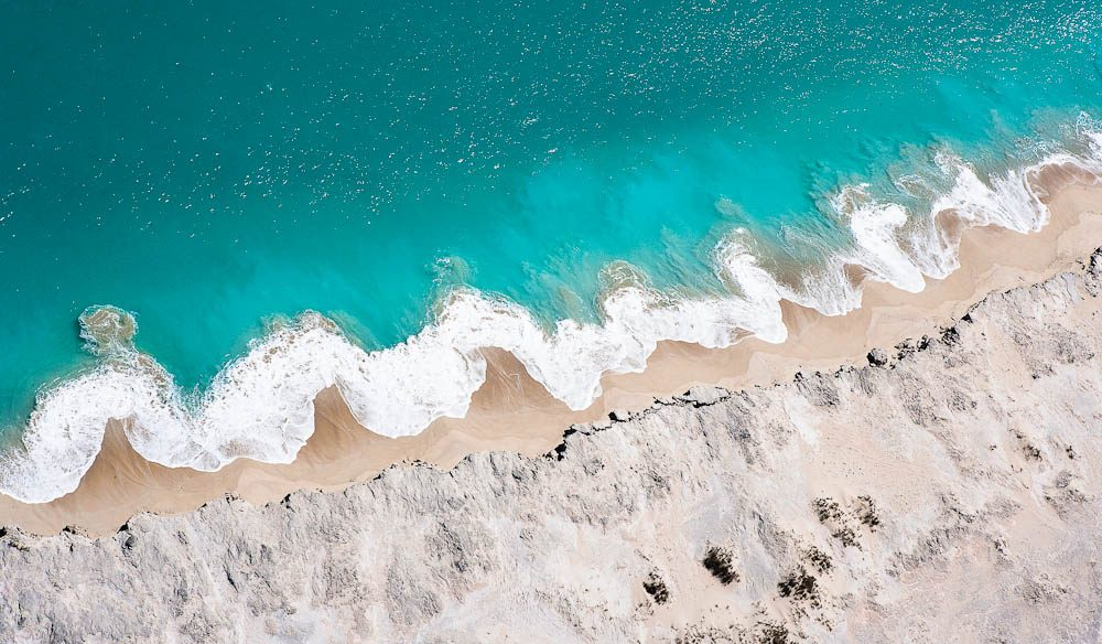 Waves make patterns on the shoreline near Willie Creek north of Broome.