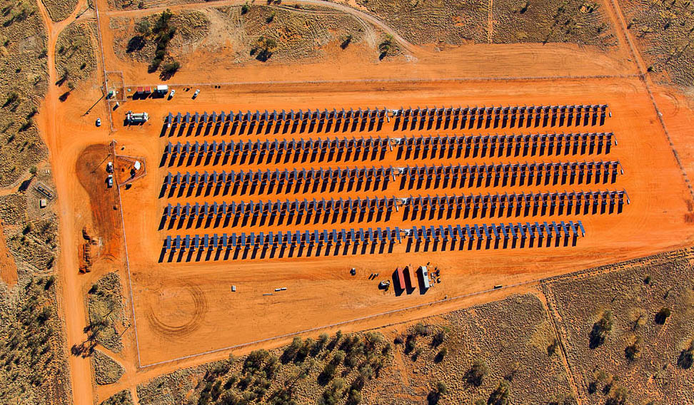 The Uterne Solar Power Station in Alice Springs, Northern Territory, which powers 270 homes. Its name means 'bright sunny day' in the local Arrernte language