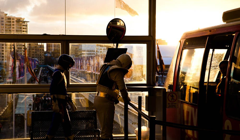 The Power Rangers reboard the monorail for the last time.