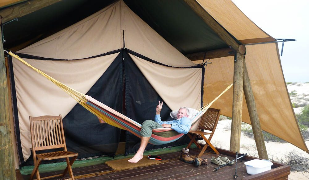 Australian Traveller magazine reader Phil Murray taking his glamping seriously
