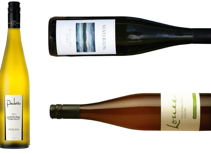 Waterton Riesling (2009), Pauletts Polish Hill River Riesling (2011) and Louee Nullo Mountain Riesling (2011).