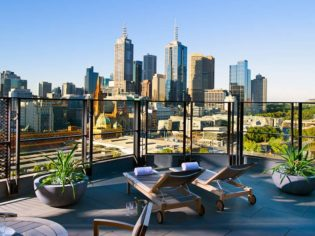 The Langham, looking across the Melbourne skyline.