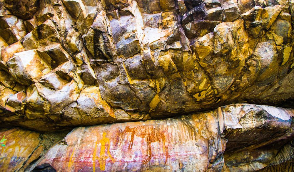 Stunning rock art, depicting nearby food sources, such as Wallaby, in the Nitmiluk National Park.