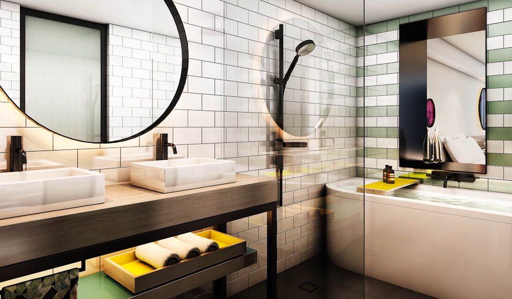 A bathroom in one of QT's serviced apartment at Pacific, Bondi Beach, on the site of the Swiss Grand hotel.