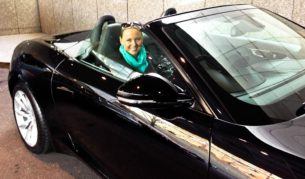 Megan says she was nervous driving the Jaguar F Type convertible for the first time - she doesn't look like it though.