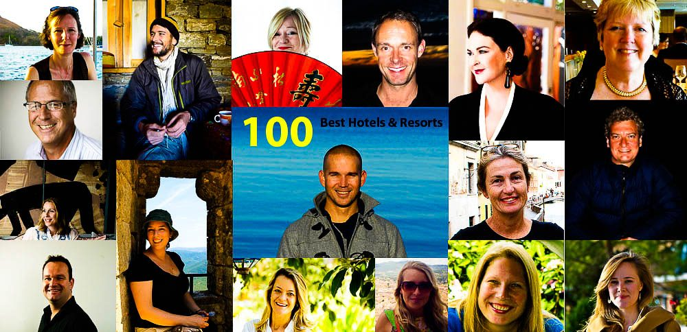 The Panel for IT's 'Top 100 Hotels & Resorts': (Clockwide from top left) Claire Wrathall, Darrell Hartman, Bev Malzard, Rob McFarland, Kirstie Clements, Linda Fasteson, Daniel Scott, Gabriel O'Rorke, Kathleen Squires, Rachel Beard, Melissa Biggs Bradley, Sunshine Flint, David Whitley, Juliet Kinsman, Jim Byers, (centre) Craig Tansley & Sue Gough Henly.