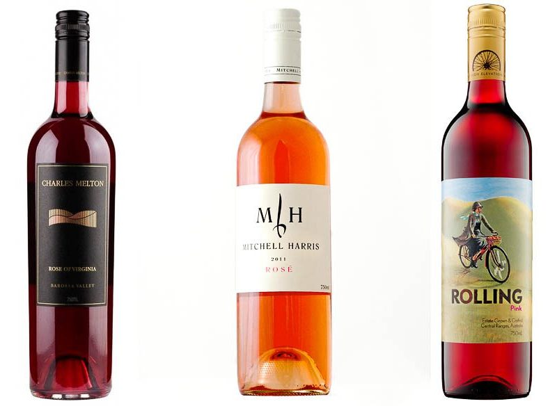 2012 Charles Melton Rose of Virginia, Barossa Valley; 2011 Mitchell Harris Rose, Pyrenees; 2011 Rolling Pink, Central Ranges