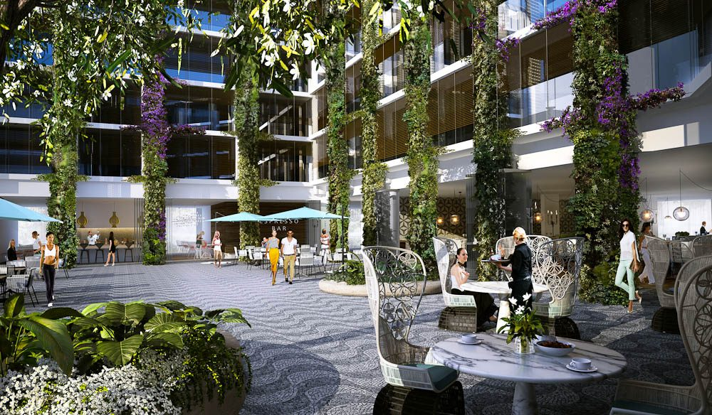 The planned atrium for Pacific Bondi Beach on the site of the Swiss Grand hotel.