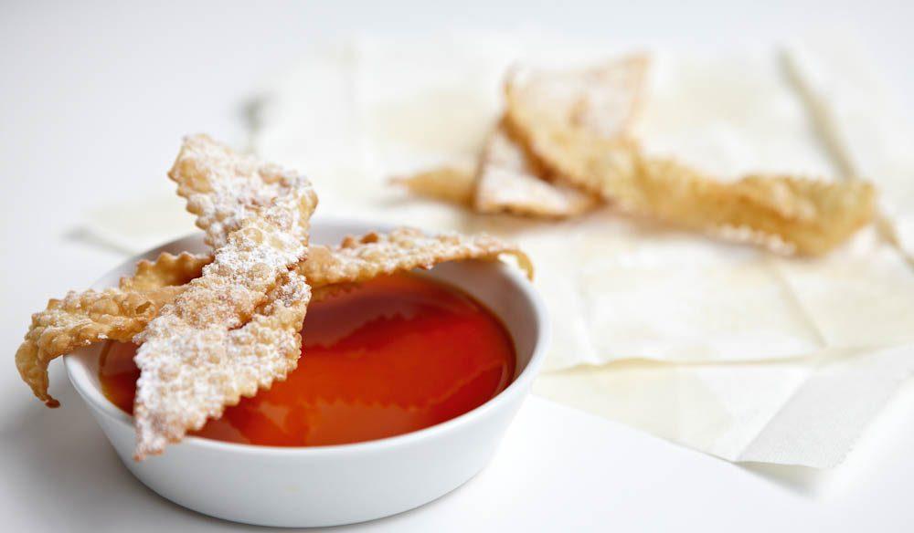 Pei Modern's sauternes custard and crostoli.