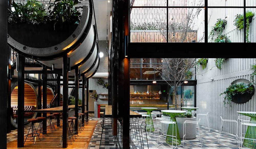 Clean 'recycled' renovation: Prahan Hotel, Melbourne.