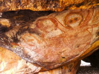 Wandjina art at Kimberley Coastal Camp, Western Australia.