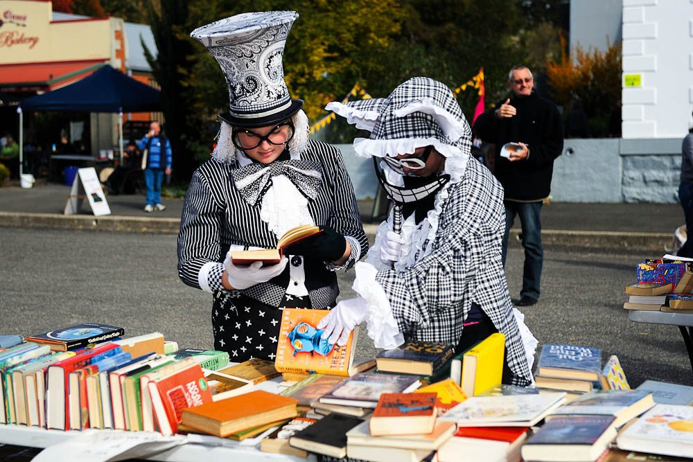 The Mad Hatter descends into Booktown (Clunes) - by Jesse Booher.