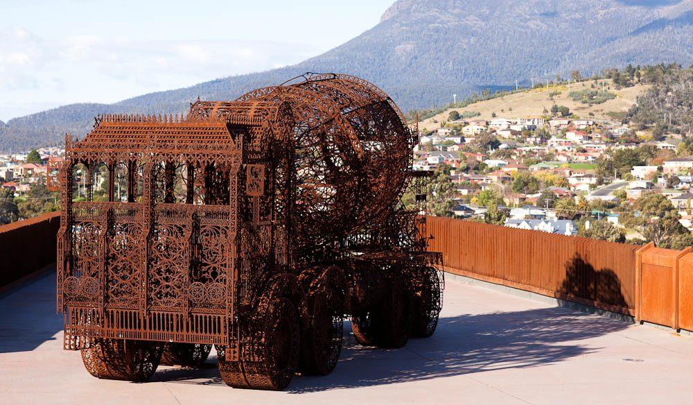 Resting on the roof: Wim Delvoye's laser-cut corten steel 'Cement Truck'